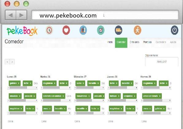 software para guarderias pekebook, envia el menu de la escuela infantil